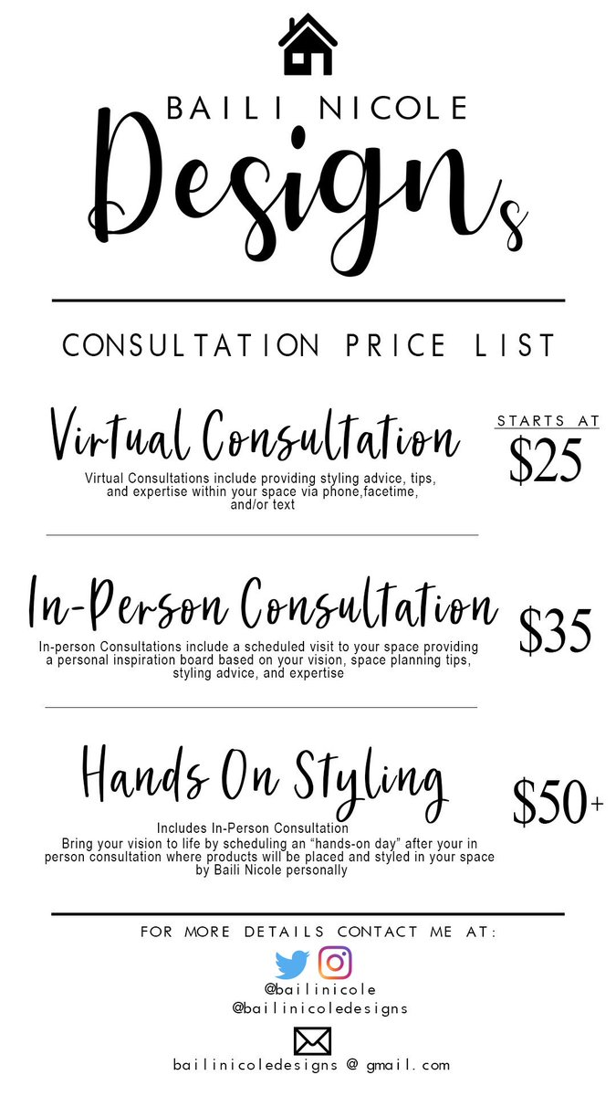 Baili Nicole Designs consultation price list! I don't have to be in your area to help you decorate your space. RT please! My next clients could be on your timeline  <br>http://pic.twitter.com/j9faXNa9NH