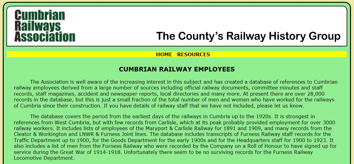 Did your ancestors work on the railways in Cumbria (Cumberland &amp; Westmorland)? Check out the Cumbrian Railway Employees database of 28,000+ records now!  http://www. oneplacestudy.org/archives/545  &nbsp;   Special thanks to @OxenholmePast for alerting us to this valuable #genealogy resource #1placestudies<br>http://pic.twitter.com/8kRxtyrYm8