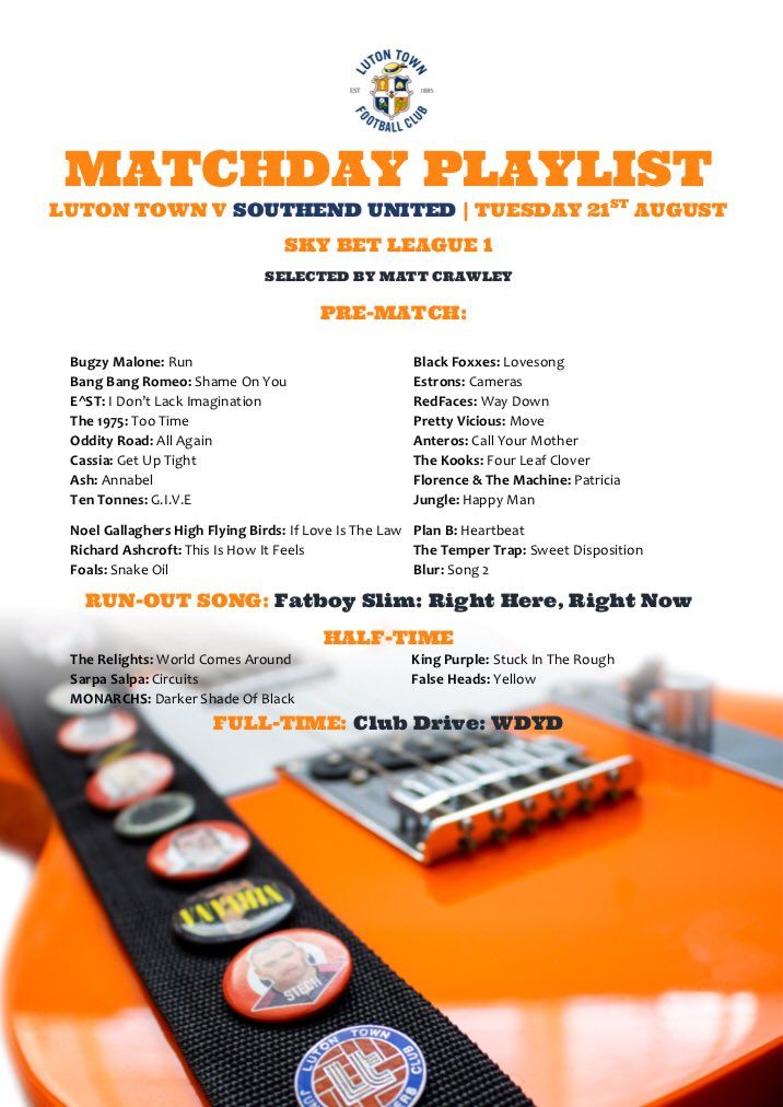Here is tomorrow nights @LutonTown Matchday Playlist for the game vs Southend United. It includes @blackfoxxes @AnterosOfficial @RedFacesMusic @prettyviciousuk @estrons @iameastofficial @BangBangRomeo @TheBugzyMalone @wearecassia @OddityRoad @ten_tonnes @ashofficial   #COYH #LTFC<br>http://pic.twitter.com/yhMJo3su6G