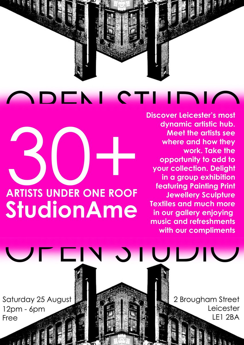 This Saturday! Come visit @StudionAmeLei & discover Leicester's most dynamic artistic hub! 30+ artists for you to come meet, see their work & buy from! See you there eventbrite.co.uk/e/studioname-o… #art #openstudio #loveart #artlover #collectart #artcollector #contempoararyart #leicester