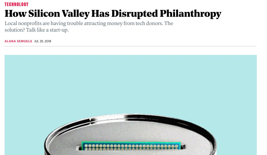 &quot;...in the end, nonprofits must do whatever the people with the money want.&quot; And this in a depressing nutshell, is the probem with the #globaldev system. &quot;How Silicon Valley Has Disrupted Philanthropy&quot; (and not entirely for good)  https:// buff.ly/2Bz8rya  &nbsp;  <br>http://pic.twitter.com/atvKbMTkHs