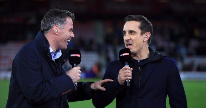 Gary Neville: Jamies little Powerpoint is lovely. Jamie Carragher: You shouldve taken it to Valencia. Monday Night Football is back. 😂😂😂😂