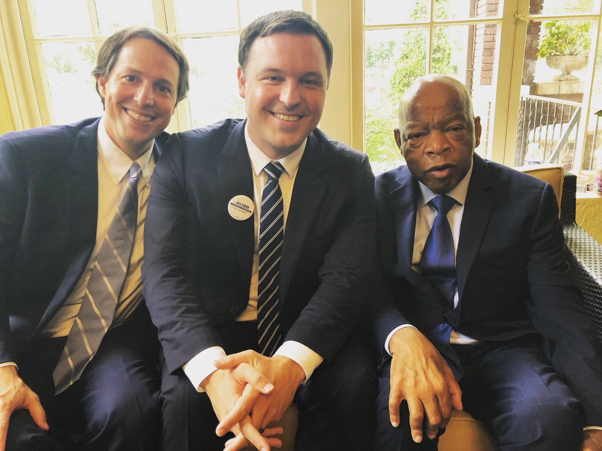 """Joined hundreds yesterday in supporting @clarketucker & listening to @repjohnlewis. Rep. Lewis's fight for a more just tomorrow reminds us that it's okay to cause some """"good trouble."""" Looking forward to @clarketucker being a leader in that fight as our next CD2 Congressman."""
