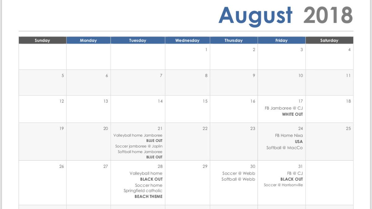 Chs Stuco On Twitter Here Is The Theme Calendar For August