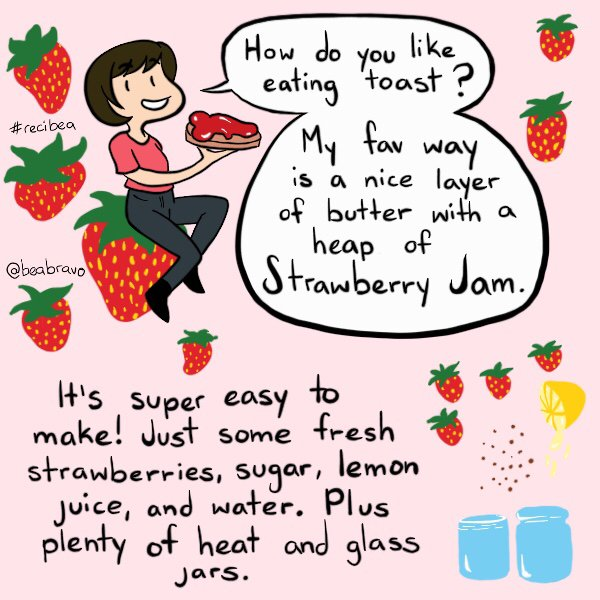🍓Strawberry Jam #recibea 🍓 This one is a bit long but jam is super easy to make! It makes great gifts and is yummy on toast or cookies. Please share and enjoy! 🍓 🍋 💦 🥛🔥😋 #recibea #beabravo #recipe #recipecomics #vegan #strawberryjam #comic #jam #preserves (1of2)