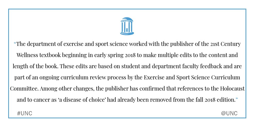 @ACLU The University previously released this statement on actions taken regarding the 21st Century Wellness textbook https://t.co/a48eYxJLXW