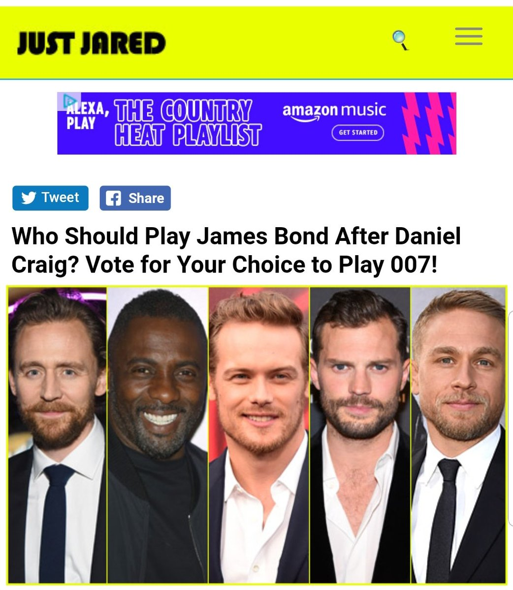 Update: @SamHeughan  won the fan poll #SamHeughan007  With 261,530 votes  Who Should Play James Bond After Daniel Craig? Vote for Your Choice to Play 007!  http://www. justjared.com/2018/08/13/who -should-play-james-bond-after-daniel-craig-vote-for-your-choice-to-play-007/ &nbsp; …  via @JustJared<br>http://pic.twitter.com/sGzI8rvxwY