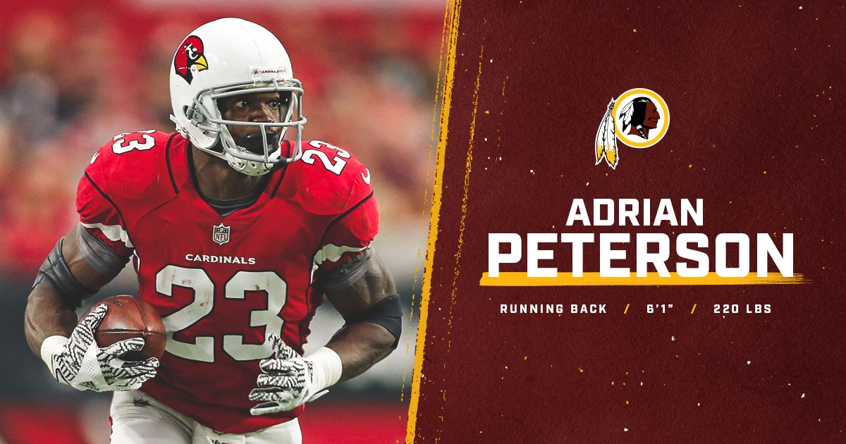 Redskins sign RB Adrian Peterson. Read more  https   t. ef7034e90