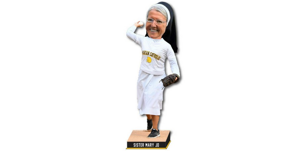 Its official! Sister Mary Jo Sobieck is getting her own bobblehead! Thanks to the National Bobblehead Hall of Fame, you can pre-order yours today! $5 from every Sister Mary Jo Bobblehead sold goes back to Marian Catholic! #GoSrMoJo bit.ly/2LaIdSr