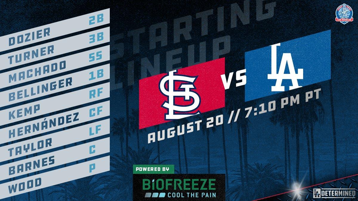 Tonight&#39;s Dodger lineup vs. Cardinals: Dozier 2B Turner 3B Machado SS Bellinger 1B Kemp RF Hernández CF Taylor LF Barnes C Wood P  #Dodgers | @Biofreeze<br>http://pic.twitter.com/HQ3MGAaMYf