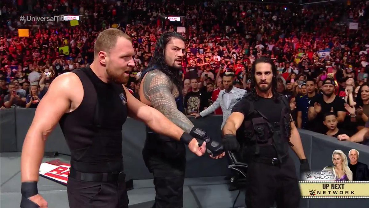 JUSTICE SERVED courtesy of THE SHIELD.  #RAW @WWERomanReigns @TheDeanAmbrose @WWERollins