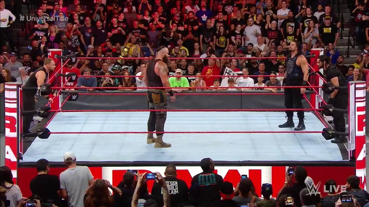 THE HOUNDS. #RAW #UniversalTitle @WWERollins @TheDeanAmbrose @WWERomanReigns