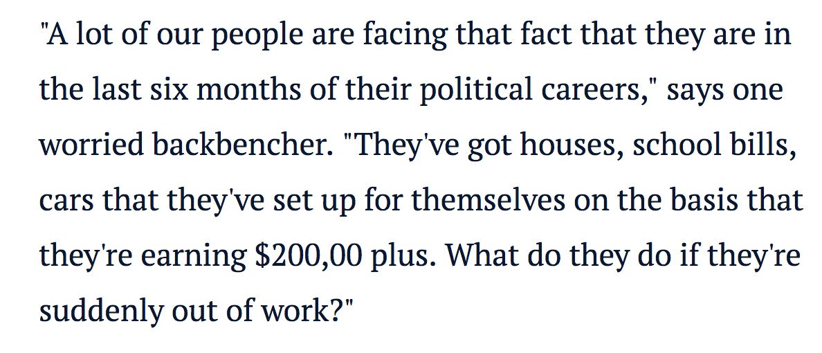 Some gutless Government backbencher is anonymously whinging about losing their job this morning. It doesnt get any more out of touch than this. #libspill