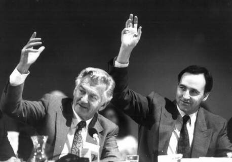 Hands up who wants to be prime minister! We just got a hot fax saying that Bob Hawke has survived a challenge from Paul Keating. The Austext national news will be lighting up!
