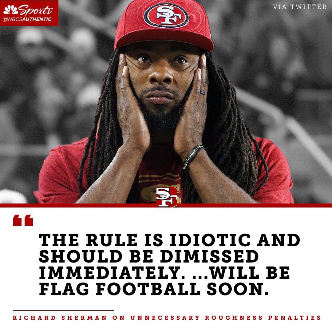 Richard Sherman speaks out on the NFL's new helmet rule.