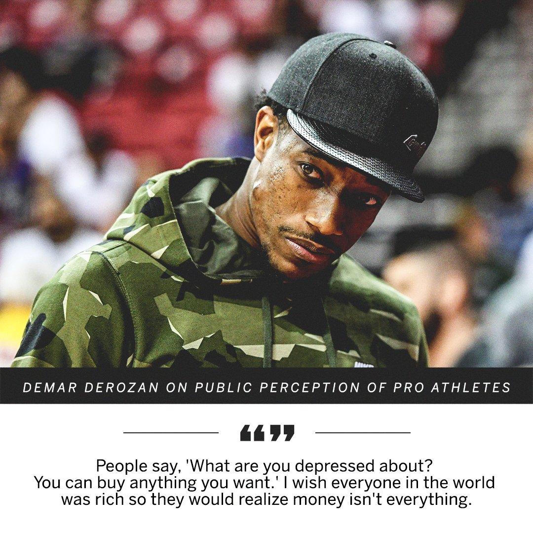DeMar DeRozan is using his voice to fight the stigma attached to mental health issues: https://t.co/UAiu2Kl51X https://t.co/rWhKWPkgt9