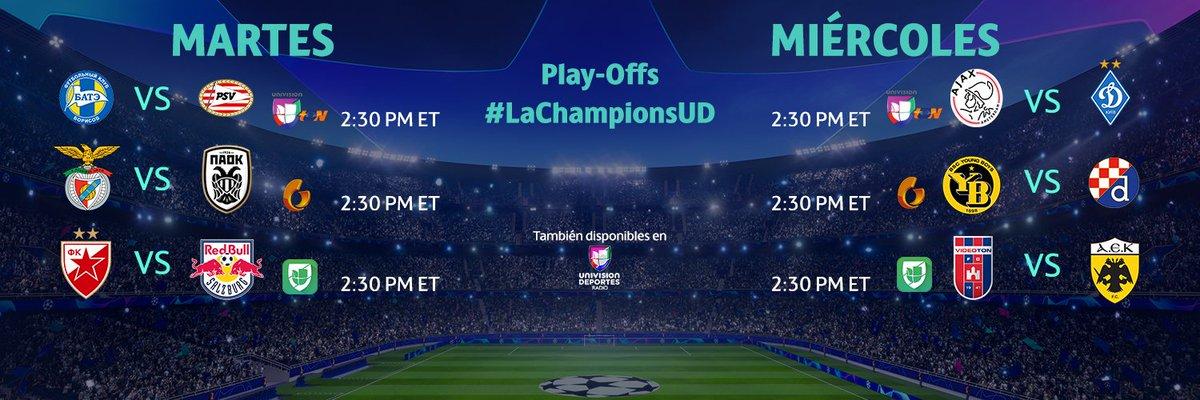 Mañana comienzan los play-offs de #LaChampionsUD y solo los disfrutas por @UnivisionSports 📺🌟⚽️.