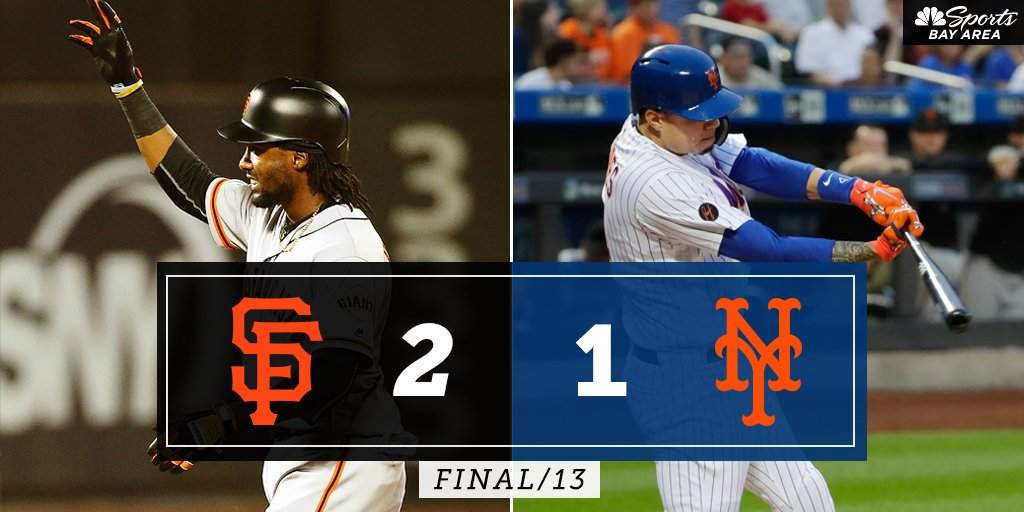 FINAL (13): @SFGiants 2, @Mets 1 -- Watch Postgame Live NOW on NBC Sports Bay Area and streaming on the @NBCSportsApp bit.ly/2wbPbAZ