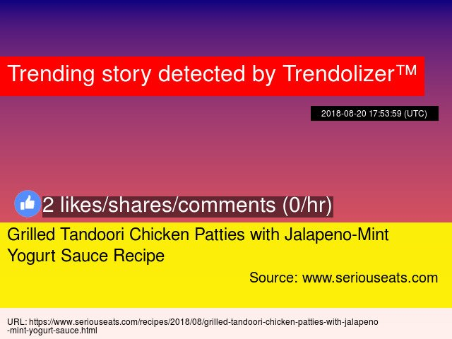 Grilled Tandoori Chicken Patties with Jalapeno-Mint Yogurt Sauce Recipe https://t.co/jQOHe4BYh0 https://t.co/5YcnsVWAm9