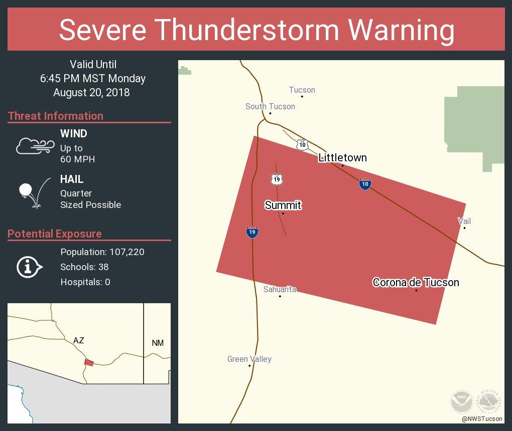 Map Of Arizona Hospitals.Nws Tucson On Twitter Severe Thunderstorm Warning Including Corona
