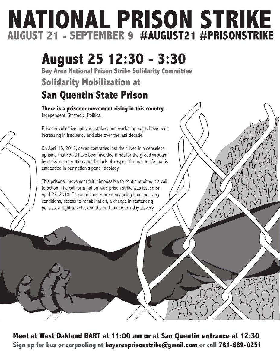 Bay Area National Prison Strike Call to Action / Mobilization @ West Oakland BART, carpool to San Quentin State Prison | Oakland | California | United States