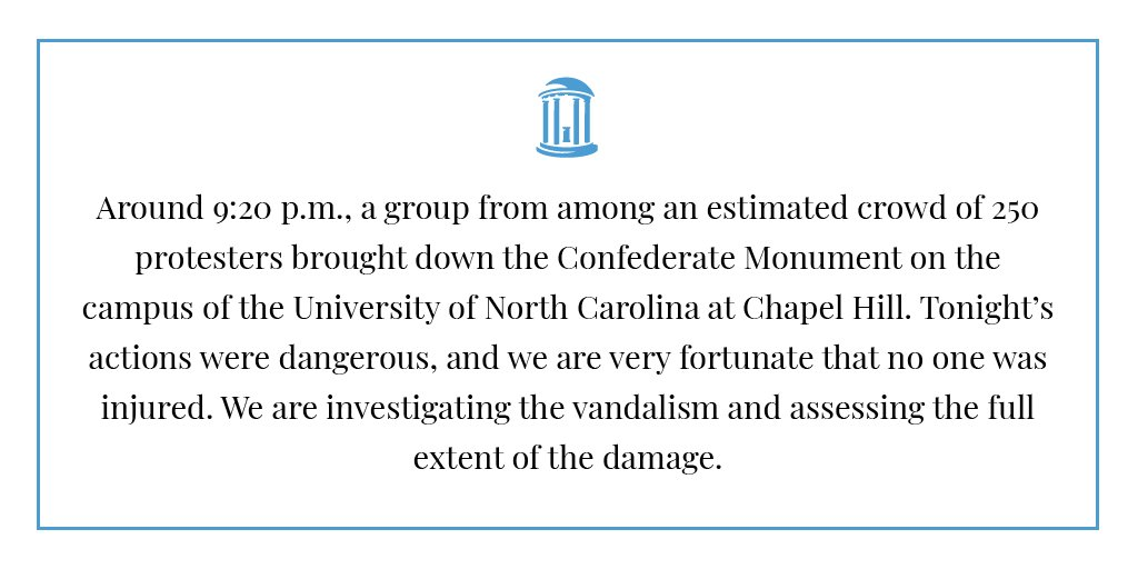 A statement about the Confederate Monument at UNC-Chapel Hill https://t.co/7D45yiAAeb