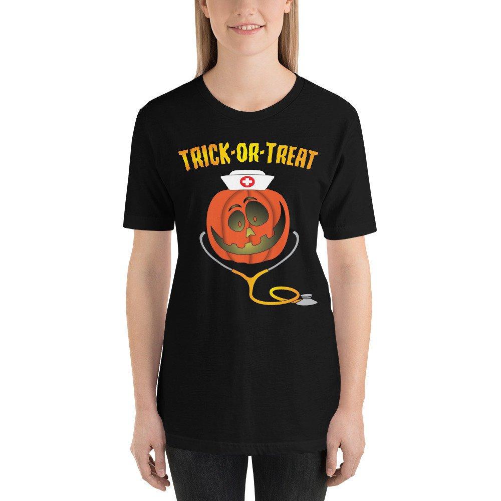 b065de71 #etsy shop: Halloween Pumpkin Nurse Trick or Treat Stethoscope Short-Sleeve  Unisex T-Shirt https://etsy.me/2LaKux1 #clothing #shirt #halloween #nurses  ...
