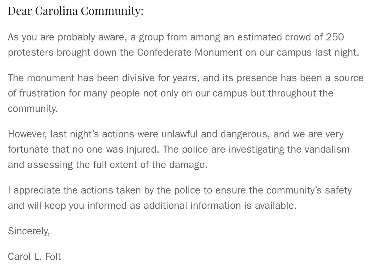 A message from Chancellor Folt on the Confederate Monument: https://t.co/Qp42b6410P https://t.co/T3HoBCEfXw