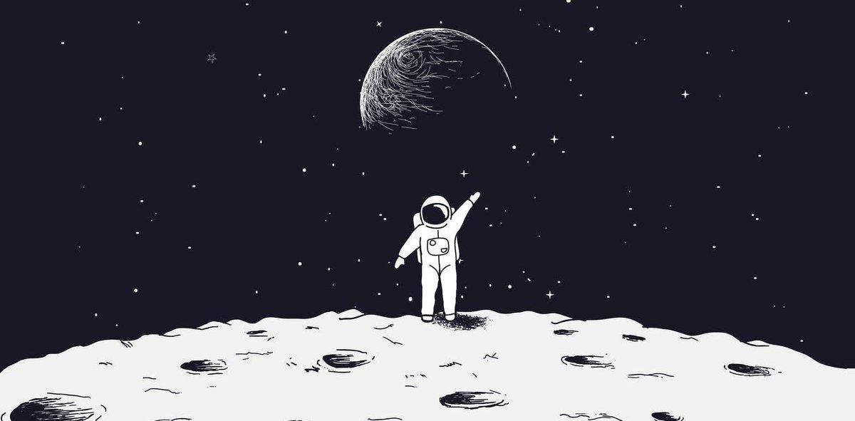 человек на луне рисунок вариантом может