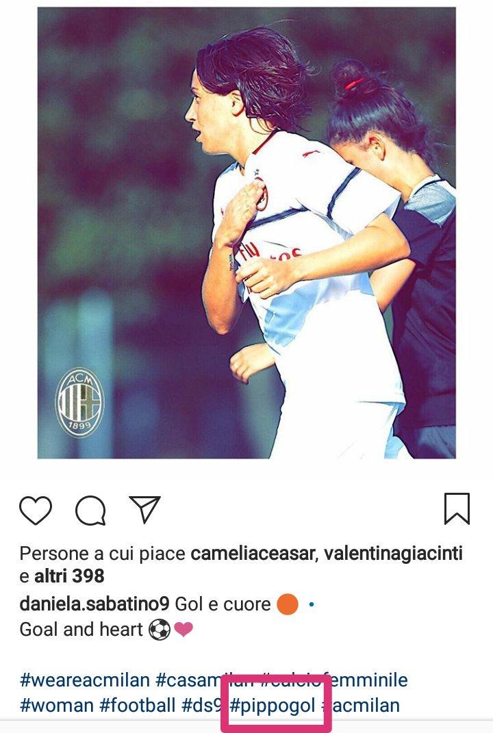 """Daniela Sabatino, dichiaratamente """"milanista da sempre"""", nell'ultima amichevole ha regalato gol e cuore per la maglia. Come mai utilizza sempre l'hashtag #pippogol? Aspettate di vederla giocare.. 🔴⚫ https://t.co/L5nORJxJt4"""