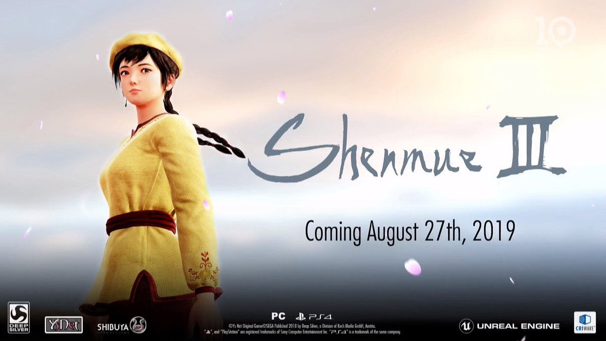 Shenmue 3 is officially launching August 27, 2019 #gamescom2018