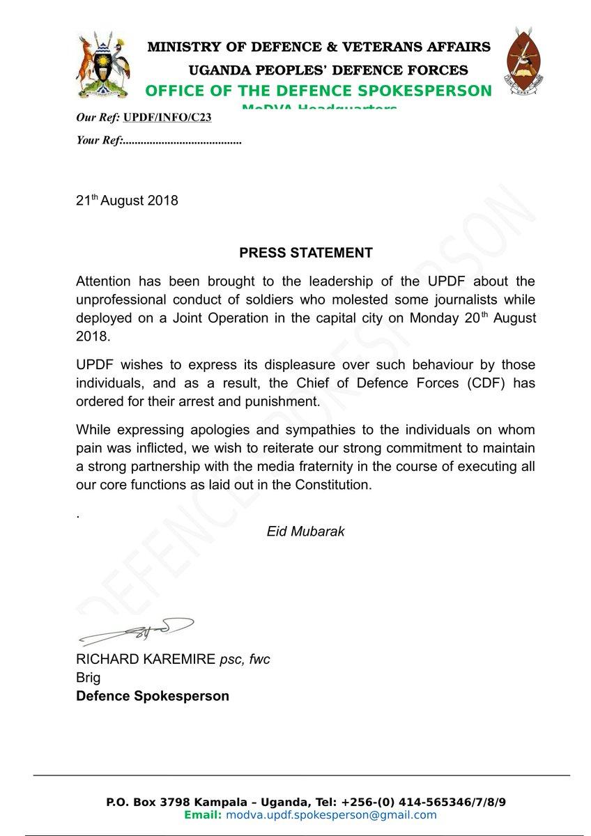 Ouganda -bastonnade de journalistes: l'armée présente ses excuses  - Bénin Web TV
