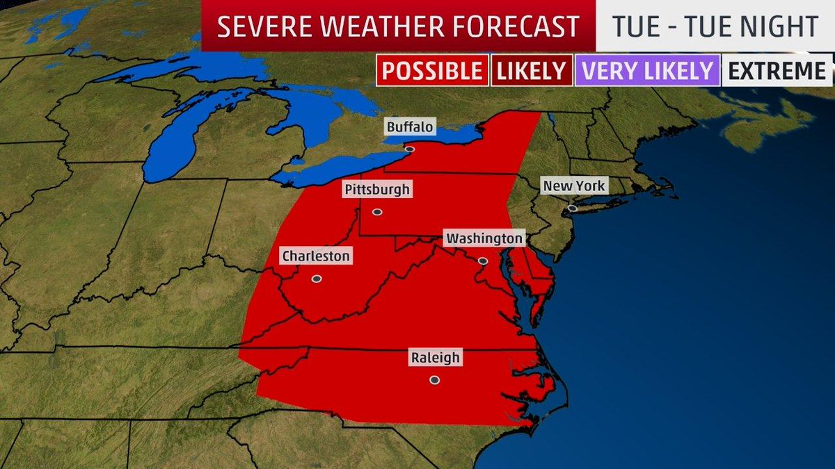Severe storms with damaging winds could impact parts of the eastern Great Lakes and mid-Atlantic today: wxch.nl/2wjdD3k
