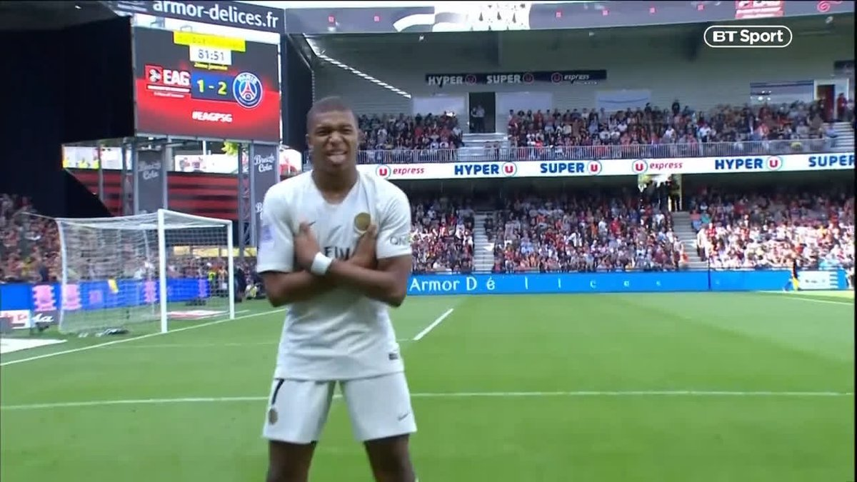 • First game back after World Cup • Subbed on with PSG losing 1-0 • Sent defenders for hot dogs • Scored twice in 3-1 win Kylian Mbappes individual highlights vs Guingamp are insane 😱