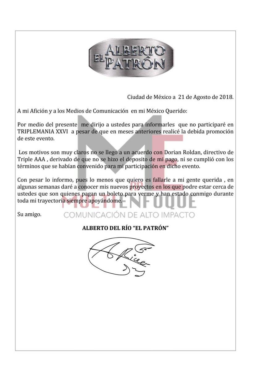 Alberto del Río explica su ausencia en Triplemanía XXVI 2