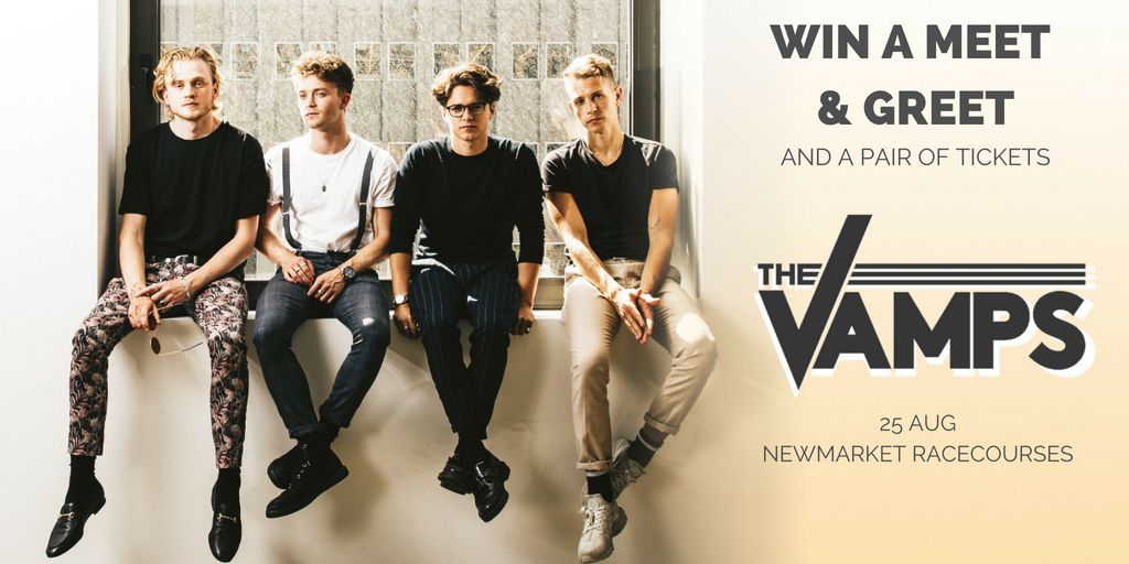 #CompetitionTime  Who wants to meet @TheVampsband and win two tickets to their show at @NewmarketRace on Saturday?    To enter:  - Follow @musicplussport - like and retweet this tweet  The winner will be announced on Friday at midday. Good luck!<br>http://pic.twitter.com/Oy6dIrYAk5