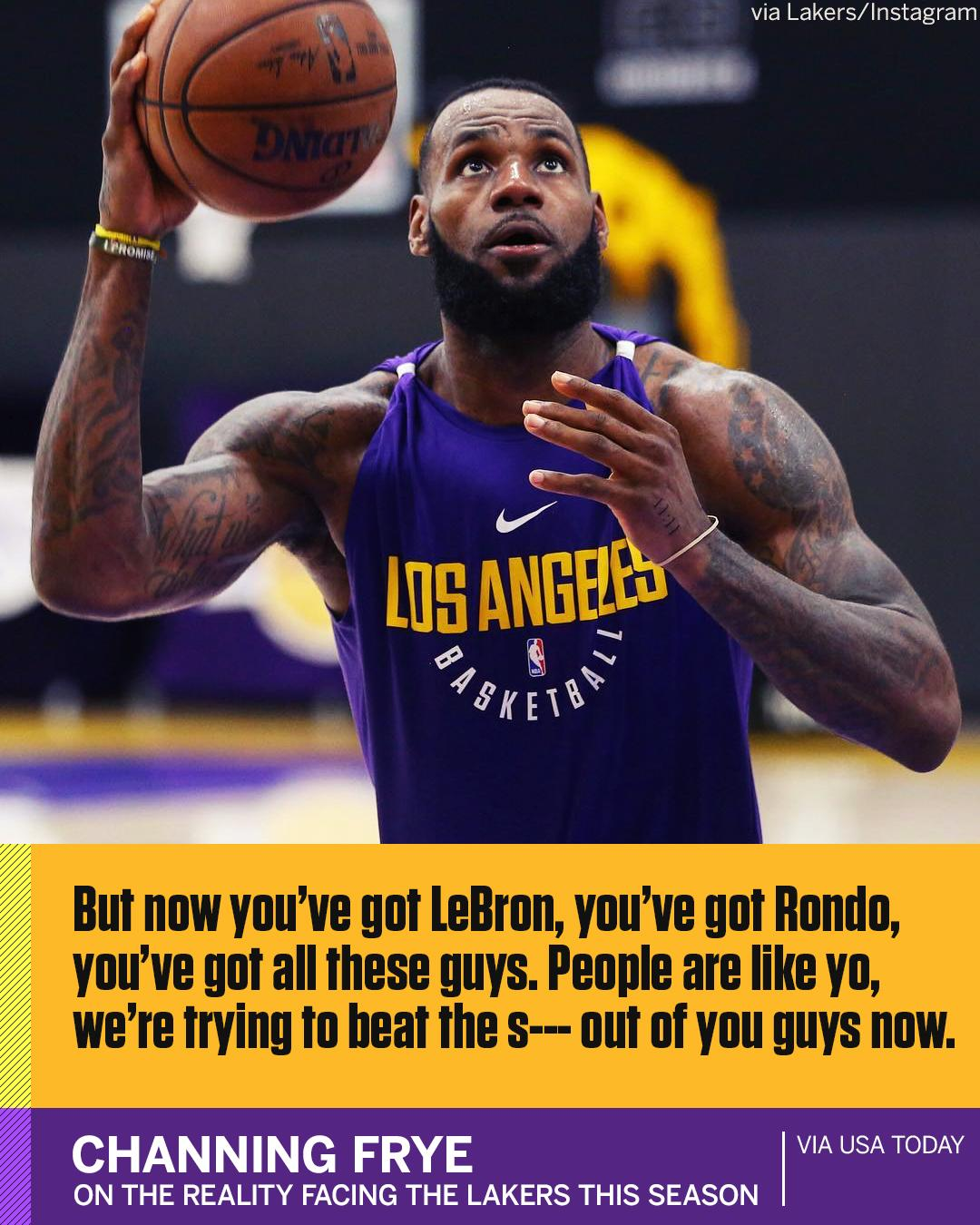 There could be a reality check in store for some members of the Lakers this season, according to Channing Frye. https://t.co/taVl49TDti