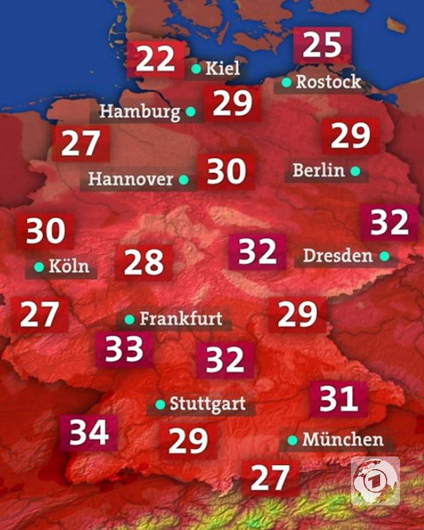 Und hier die Lottozahlen für morgen, ähm, mein die Temperaturen für morgen. Bleibt - wenn möglich - im Schatten und trinkt viel!