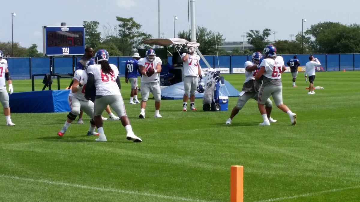 Giants offensive linemen doing work. #nyg