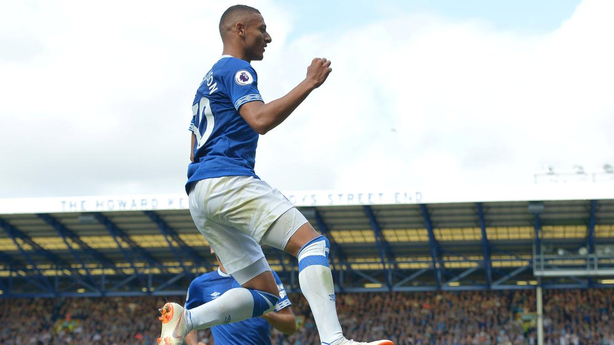 Richarlison is only the third player to score three goals in his first two PL matches for Everton, after Brian McBride in January 2003 and Romelu Lukaku in September 2013.
