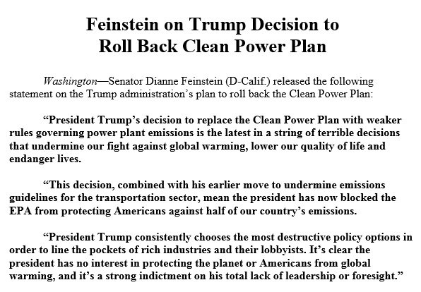 President Trump's decision to replace the Clean Power Plan with weaker rules governing power plant emissions is the latest in a string of terrible decisions that undermine our fight against global warming, lower our quality of life and endanger lives.
