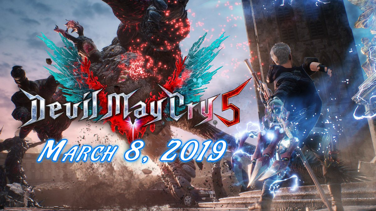 Save the date! #DMC5 is coming to Xbox One, PS4 and PC on March 8, 2019!  ⚔️