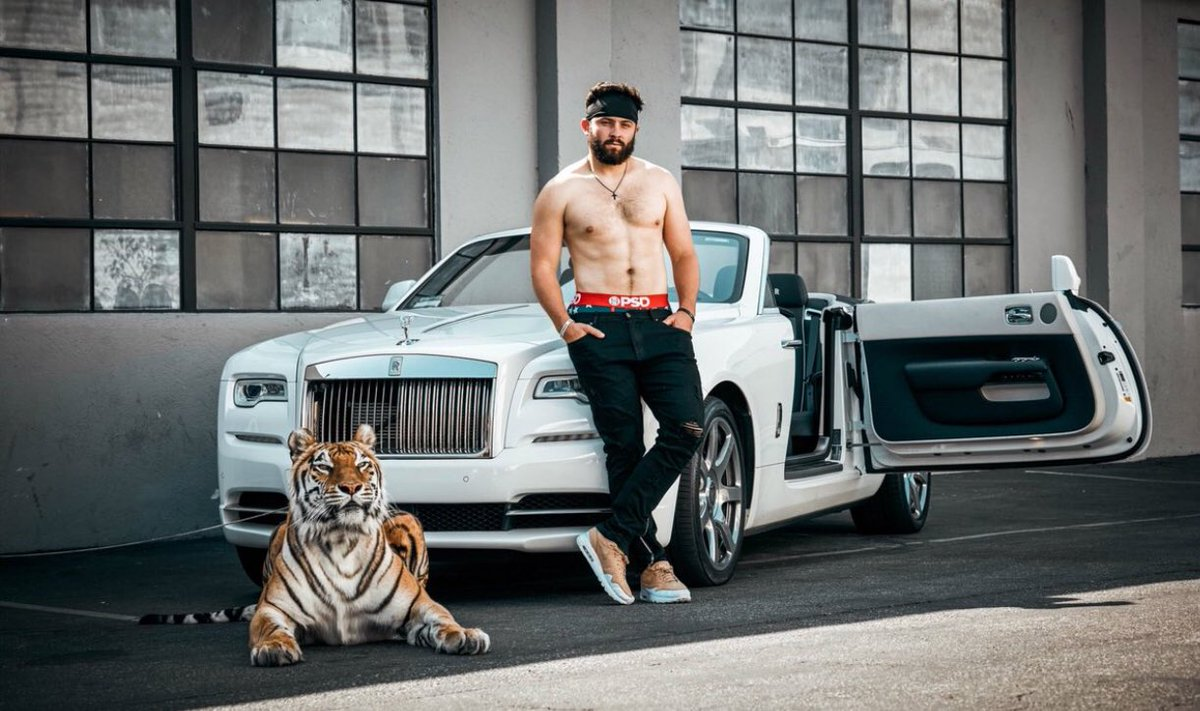 """Baker Mayfield's marketing agent @PatrickMHayes says that not only is Tiger real. It's actually THE Tiger from """"The Hangover."""""""