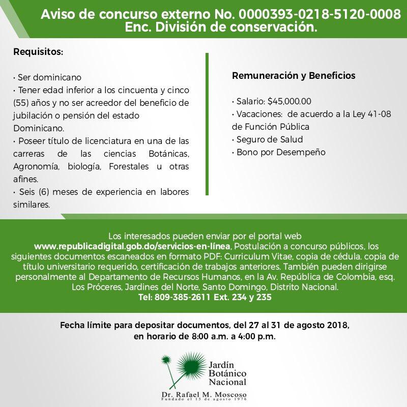 Jardin Botanico Rd On Twitter Convocatoria De Concurso Externo