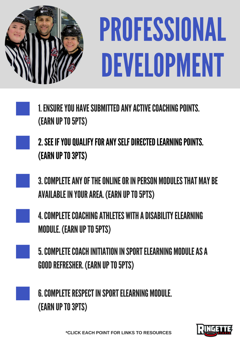 Coaches! Are you looking for Professional Development opportunities? Here are some ways to accumulate PD points:  #RingetteON #RingetteCoach #OwnTheRinkpic.twitter.com/d5BakZq7mV