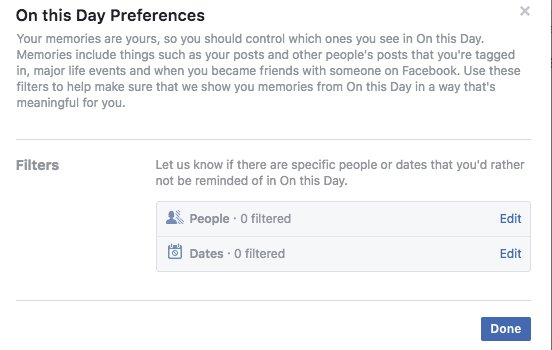 Facebook's On this Day Preferences screenshot with filters for people and/or dates to omit from On this Day reminders.
