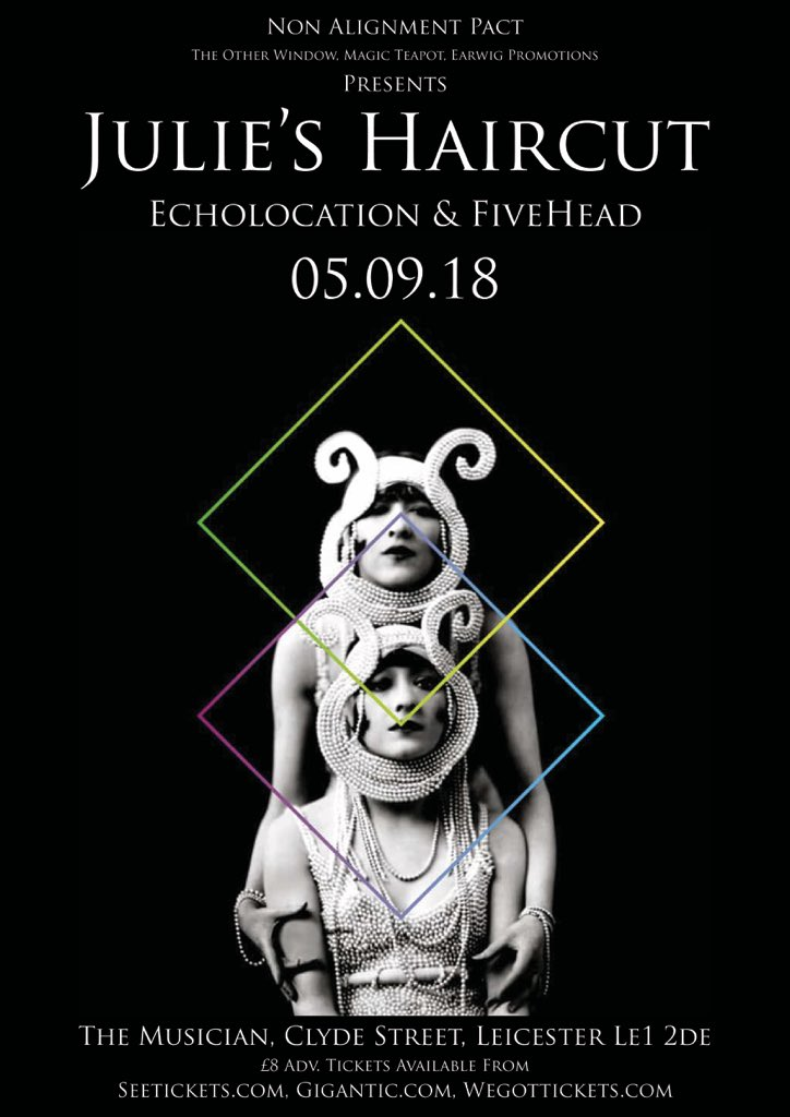 @julieshaircut of @RocketRecording // @echolocation_uk // FiveHead @MusicianVenue #Leicester Wed 5th Sept £8 adv tickets from @Gigantic co promoted with @magic_teapot @hsd22 @RecordsEarwig