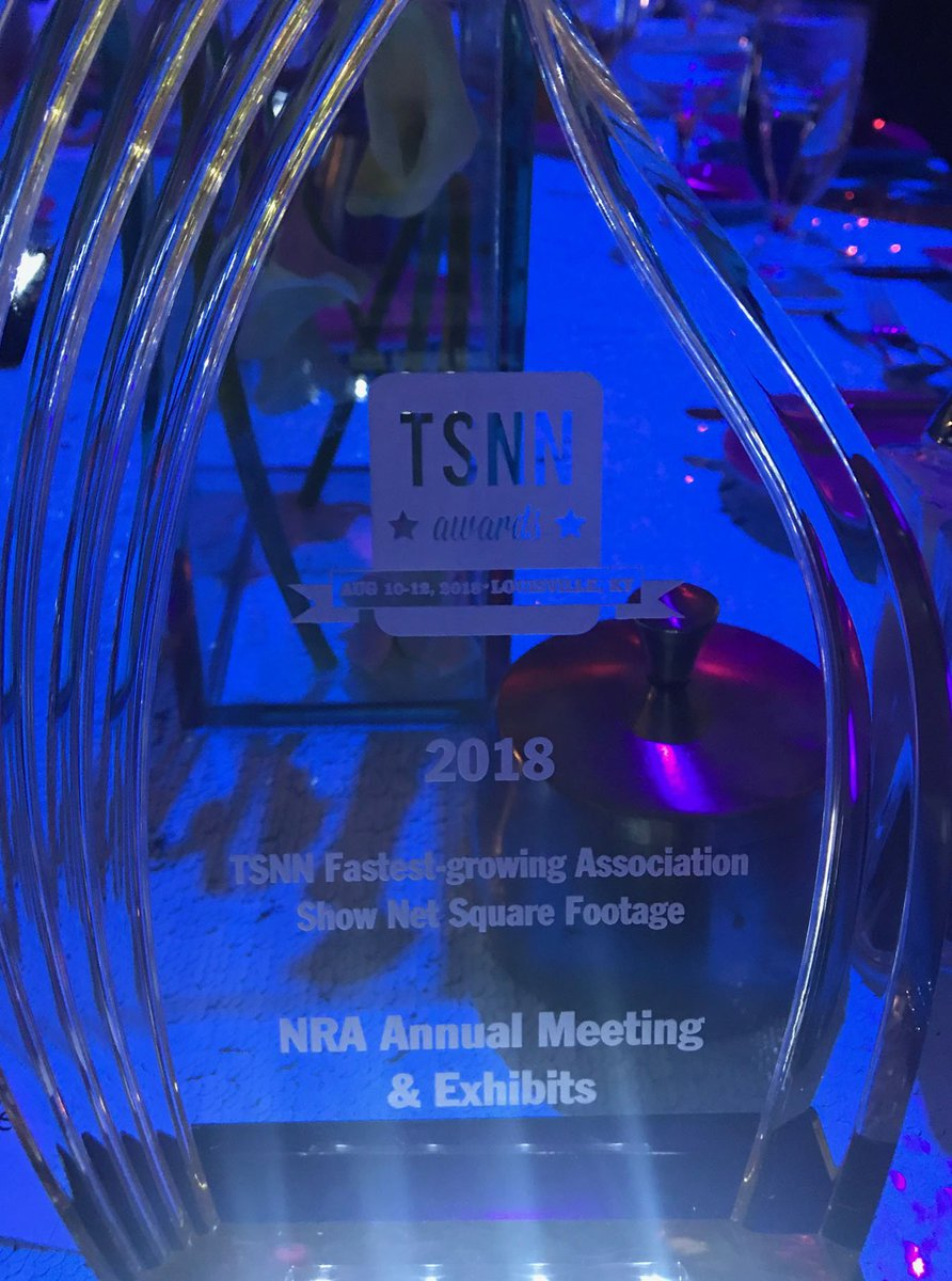 Another award for #NRAAM! The @NRA @AnnualMeetings was named the 2018 Fastest-Growing Association Show in the U.S. at the @TSNNawards on Aug. 11 in Louisville! Read: bit.ly/2N7k6px #NRA #2A