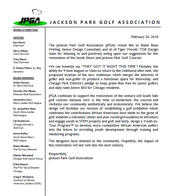 @ASGCA @jacksonparkCPD @chicagotribune @gm_mdgolf @BenkuskyGolf @EricZorn Please consider the perspectives of Jackson Parks longtime loyal golfers. Below was provided to Eric Zorn of the Chicago Tribune, but not included in article.