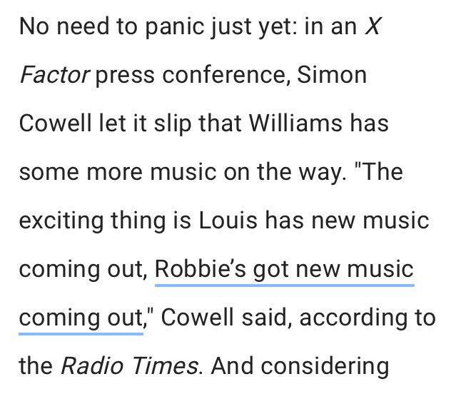 ARTIGO| Louis é mencionado em um artigo sobre Robbie Williams: (...) a coisa animadora é que Louis tem nova música para lançar e Robbie também tem nova música para lançar... ©bustle.com/p/will-robbie-… 21 de Agosto